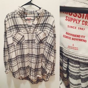 oversized, black and white flannel